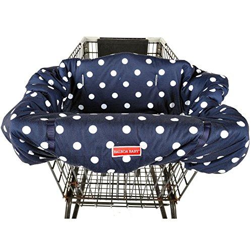 (Balboa Baby Jersey Shopping Cart Cover - Navy & White Jumbo Dot)