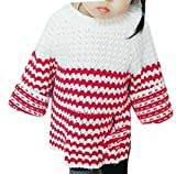 WSPLYSPJY Children's Christmas Round Neck Girl Long Sleeve Knit Sweater Red 5T