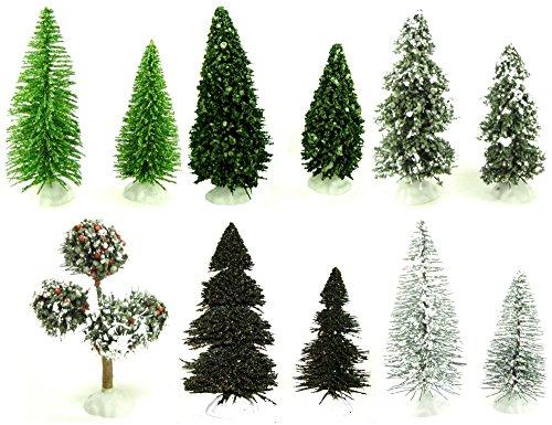 "Evergreen Trees Assorted (11) 4-5"" 6 Sets Christmas Villa..."