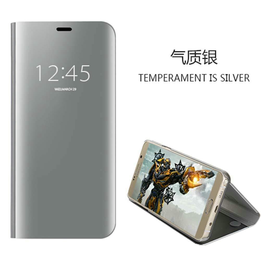 xinyunew Funda Xiaomi Redmi S2,Carcase Xiaomi Redmi S2+Protector de Pantalla Clear Standing Flip Case Caso Skin Espejo Estilo Libro Carcasa con /óptica de Aluminio Cover Plegable en Reflectante Negro