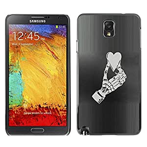 All Phone Most Case / Hard PC Metal piece Shell Slim Cover Protective Case Carcasa Funda Caso de protección para Samsung Note 3 N9000 N9002 N9005 Heart Skeleton Hand Crushed Love Life