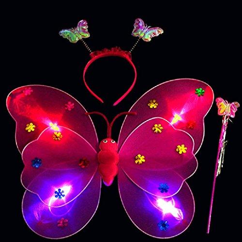 Gotd 3pcs/Set Girls Led Flashing Light Fairy Butterfly Wing Headband Costume Dress up Toys Xmas Christmas Gifts (Hot Pink)]()