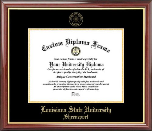 (Laminated Visuals Louisiana State University Shreveport Pilots - Embossed Seal - Mahogany Gold Trim - Diploma Frame)