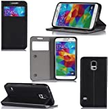 Samsung Galaxy S5 Case Protektor S View Cover with Stand-up function - Flip Leather Folio Case / Cover Galaxy SV GT-I9700 (PU Leather luxury accessories - Black)