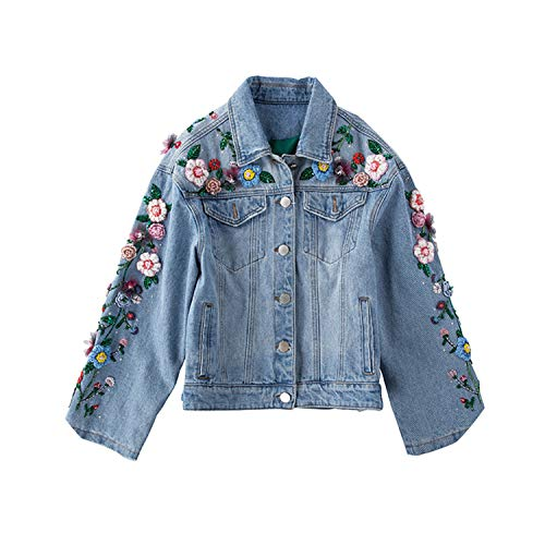 Jeans Jacket Women Heavy Embroidery Hand Nail Beads -