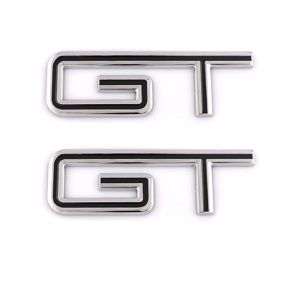 Red-Chrome 2x Chrome 3D Metal GT Emblem Decal Fender//Bumper//Trunk Self Adhesive Nameplate Replacement For Mustang 5.0 V8 Sport Car Badge Sticker Decorative