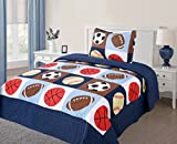 Green World 2 Piece Kids Bedspread Quilts Set Throw Blanket for Teens Boys Bed Printed Bedding Coverlet, Twin Size, American Football, Blue Basketball Football Sports