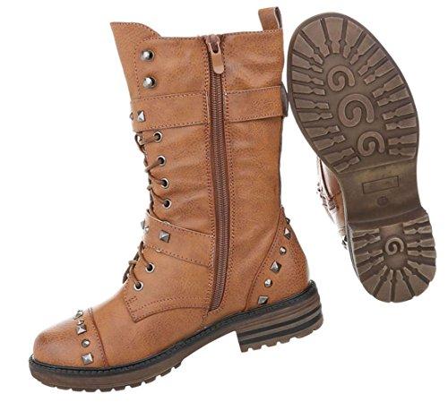 Stylische Damen Stiefeletten | Worker Boots Schnürstiefel | Halbschaft Stiefel | Damenschuhe Leder-Optik | Robuste Outdoor Stiefelette | Gelochte Schnürstiefelette | Schuhcity24 Camel