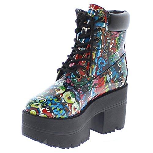 b16570c82d7 Shoe Republic LA Chunky Platform Lace up Ankle Work Boots Adam (Graffiti 8)