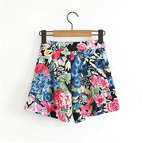Femme Noir Floral Amincissant Slim Shorts Chic Mini FuweiEncore Imprim Pantalons Casual RwOFRd