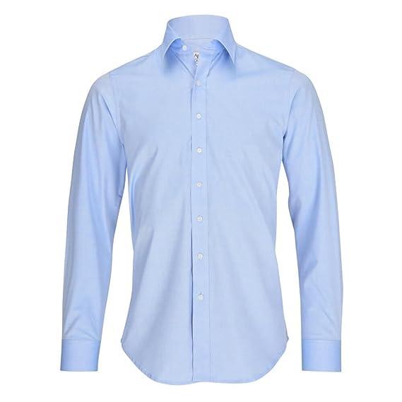 sale retailer ff7f1 8473f ALLBOW Blaues Business Herren-Hemd mit Ellenbogen-Patches optional, Slim  Fit, 100% Baumwolle