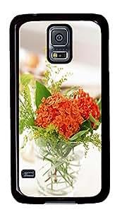 Samsung S5 free case Bottle Flower PC Black Custom Samsung Galaxy S5 Case Cover