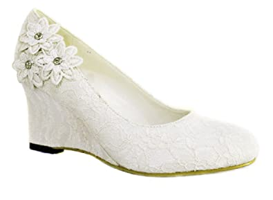 ac97e46ce40992 Womens Ivory Lace Bridal Wedding Mid Low Wedge Heel Court Pump Shoes (UK  4). Roll over image to zoom in. Absolutely Gorgeous Boutique