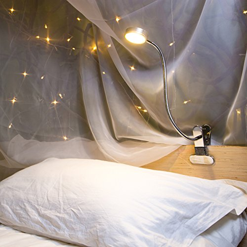 Eyocean LED Reading Light, Dimmable Clamp Light for Bed Headboard, Bedroom, Office, 3 Modes & 9 Dimming Levels, Flexible Clip Desk Lamp, Adapter Included, 5W, Silver ()