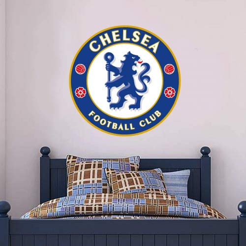Official Chelsea Football Club - Blues Crest Wall Mural + Wall Sticker Set Decal Vinyl Poster Print Mural (90cm Height)