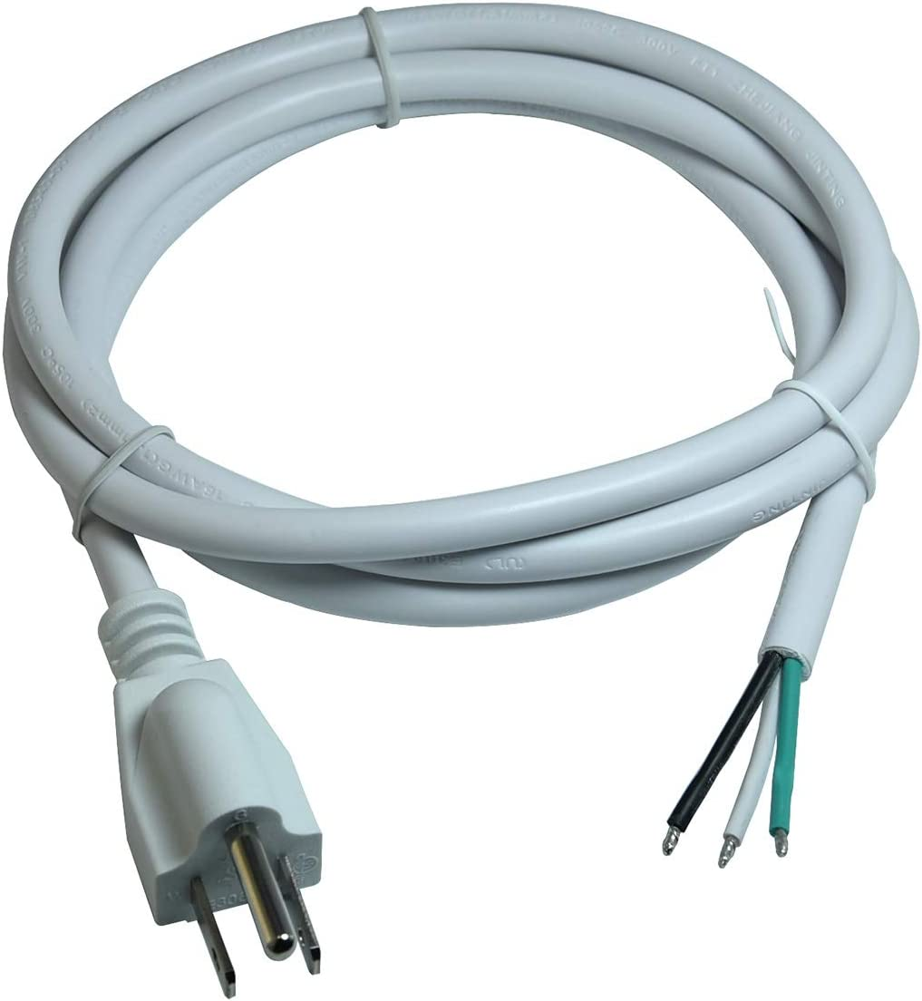 16/3 AWG 3 Prong AC Replacement Power Cord, Open End 10A 5FT UL-Listed White Color