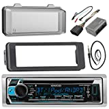 Kenwood KMR-D368BT MP3/USB/AUX Stereo Receiver CD Player W/ Weathershield Cover - Bundle Combo With Dash Trim Kit + Handle Bar Conroller for 98-2013 Harley Motorcycles + Enrock 22'' Wired Antenna