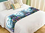 PicaqiuXzzz Custom Cute Animal Bed Runner, Underwater World with Dolphins and Plants Bed Runners And Scarves Bed Decoration 20x95 inch