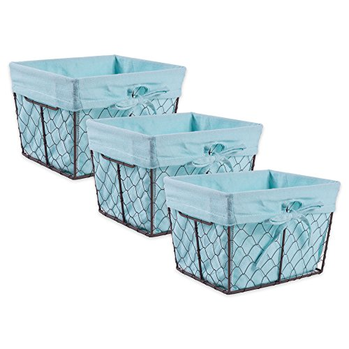 DII Vintage Chicken Wire Basket Removable Fabric Liner, Set of 3, Aqua