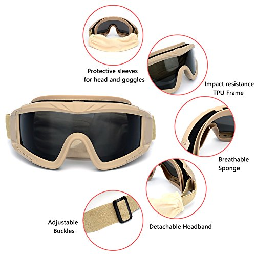 f97466ae6a3 Outdoor Sports Military Airsoft Tactical Goggles with 3 Interchangable Lens  Impact resistance Hunting Eyewear