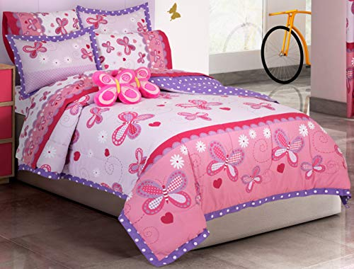 Primor Casa Fantasia Butterfly Flowers Hearts Reversible Comforter Set for Girls, 4 Pieces, Pink Purple, Rich Cotton Bedding (Full Size) ()