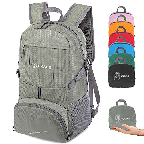ZOMAKE Lightweight Travel Backpack, Foldable Water Resistant Hiking Daypack for Men Women (Best Way To Ship A Backpack)