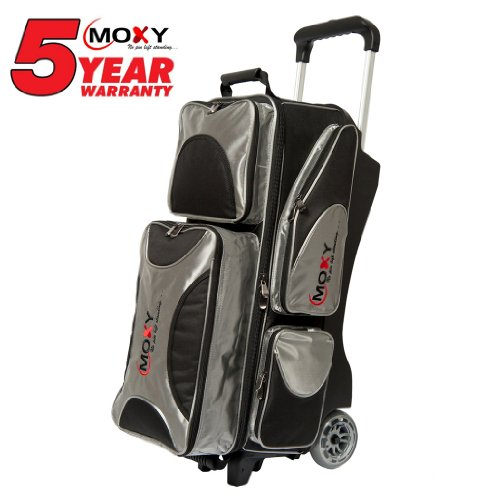Cheap Moxy Deluxe Triple Roller Bowling Bag- Silver/Black ()