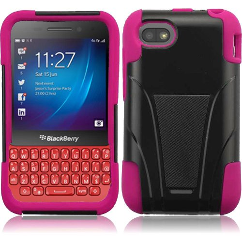 Blackberry Q5 (AT&T), LF Hybrid Dual Layer Case with Stand, Lf Stylus Pen & Wiper Accessory (Stand (Blackberry Rubber Faceplates)