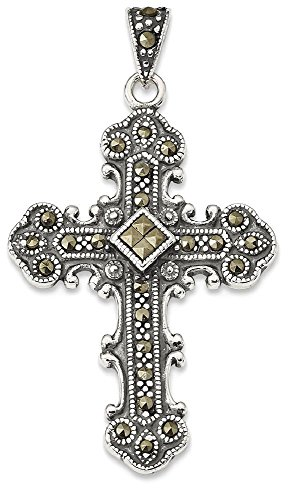 ICE CARATS 925 Sterling Silver Marcasite Cross Religious Pendant Charm Necklace Fine Jewelry Gift Set For Women (Marcasite Set Necklace)