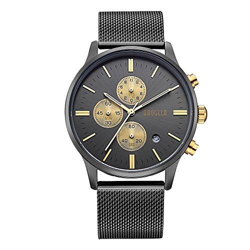 Baogela Mens black Gold Stainless Steel Chronograph Calender Alloy Quartz fashion Wrist Watch