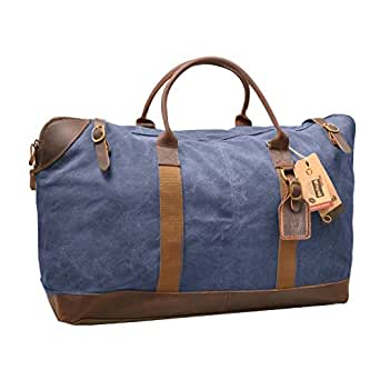 Vinpak Oversize Canvas Leather Holdall Travel Duffle Overnight Weekend Satchel Totes Bag Handbags (blue)