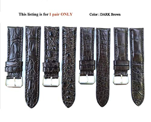 22mm Genuine Alligator Crocodile Skin Leather Watch Strap Band for men Handamde (DARK Brown CROCODILE Leather/Brown Stitching) #1