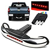 ModifyStreet 18''/3'' Chrome Stainless Steel Tube Hitch Step Bar with LED Brake Light for 1.25''/2'' Receivers