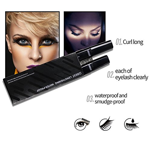 Fiber Lashes Mascara, 3D Fiber Lash Mascara, 3D Fiber Mascara For Thickening & Lengthening, Last All Day, waterproof smudge proof & hypoallergenic ingredients Long lasting Thicker and Longer