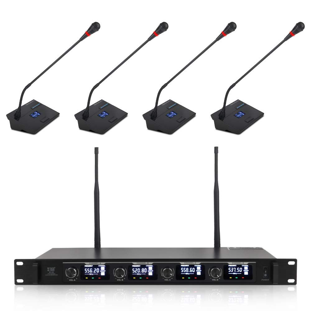 XTUGA CM140 UHF 4 Channels Professional Gooseneck Microphone system Conference wireless Mics Fixed frequency Super-low background noise&designed for small meeting places by XTUGA