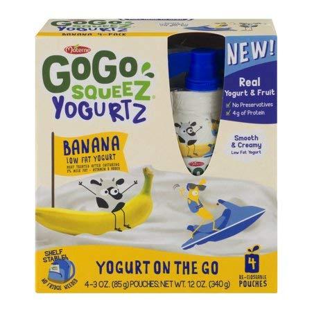 PACK OF 12 - COGO Squeez Yogurtz Banana Low Fat Yogurt, 4- 3 oz pouches