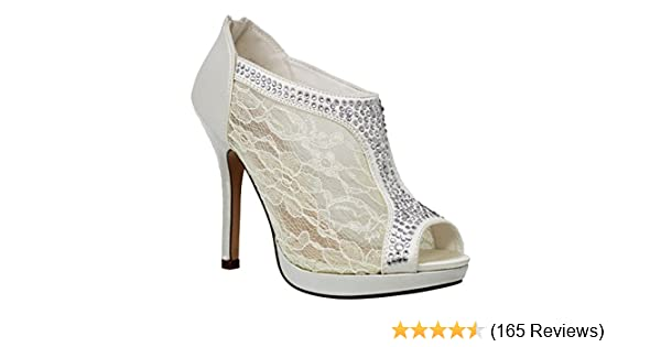 9fc6d242f9b7 MVE Shoes Women s Elegant Lace Platform Peep Toe Adjustable Ankle Strap  with Back Zipper