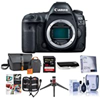 Canon EOS 5D Mark IV Digital SLR Camera Body USA Warranty - Bundle with 32GB U3 SDHC Card, Holster Case, Table Top Tripod, Cleaning Kit, Memory Wallet, Screen Protector, Card Reader, Software Package