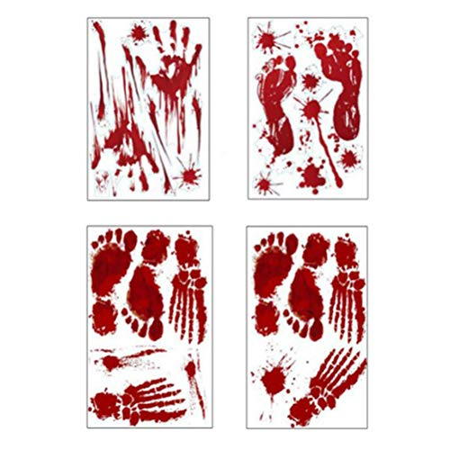 ULTNICE 4pcs Bloody Handprints Footprints Sticker Horror Halloween Wall Mural Stickers -