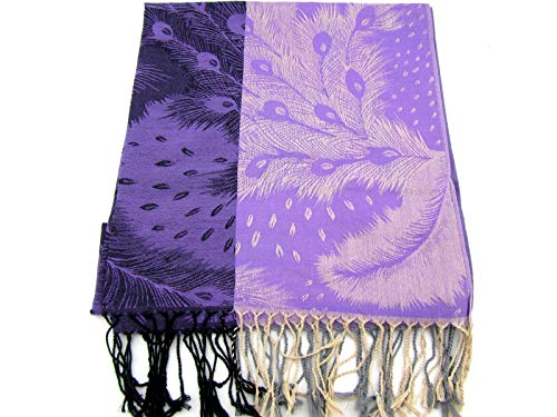 Embroidered Peacock Feather Scarf with Tassels Bohemian Wrap Hippie Shawl 68