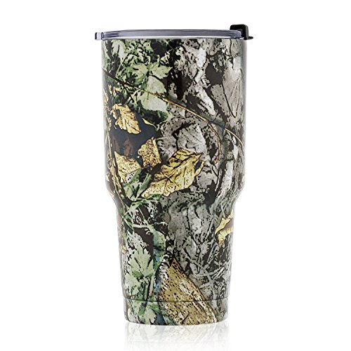 Vehicle Cup - DOKIO 30 oz Tumbler Stainless Steel Tree Color Double Wall Vacuum Insulated With Leak-proof Crystal Clear Lid For Ice & Hot Drink Travel Mug Coffee Cup For Vehicles Home Office School