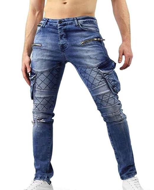 Pantalón Jeans con Orificios Rasgados para Hombre Trend ...