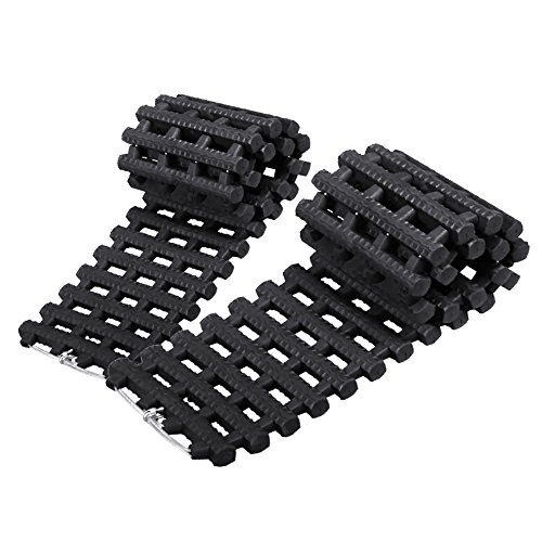 (Mr.Go Auto Emergency Traction Aid, Portable Car Vehicle Tyre Grip Recovery Tracks Traction Mat Pad Sand Ladder -Free From Off-road Mud, Snow, Ice, and Sand - 2 Pack - Black)