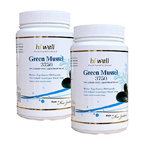 Hi Well Premium Green Lipped Mussel 3750mg 500 Capsules New Zealand Green Lipped Mussel Extract Joint Health Support & Mobility (Pack of 2)