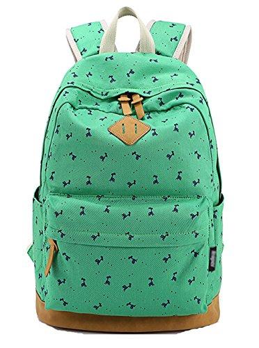 DATO Bolso Mochilas Escolares Ciervo Mochila de Lona para Mujer Moda Juvenil Grand Capacidad Viaje Mochilas Tipo Casual Backpacks Verde