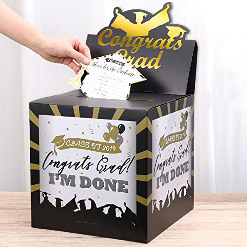 Unomor Graduation Card Box Holder for 2019 Graduation Decorations Party Supplies
