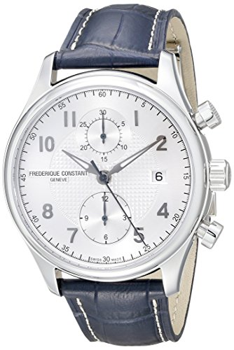 Frederique Constant Men's 'RunAbout' Silver Dial Blue Leather Strap Chronograph Swiss Automatic Stainless Steel Watch FC-393RM5B6
