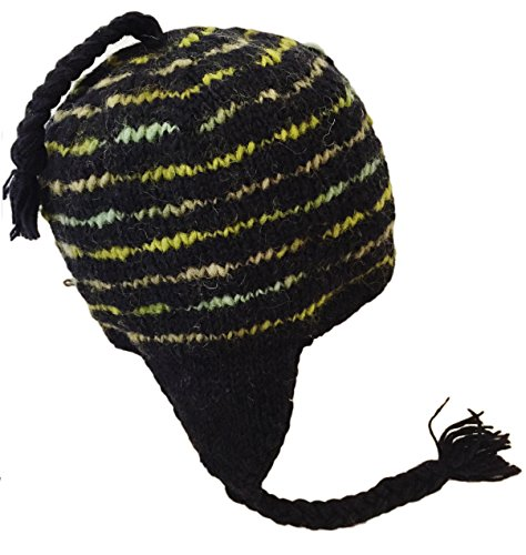 Nepal Hand Knit Sherpa Hat with Ear Flaps, Trapper Ski Heavy Wool Fleeced Lined Cap (Green/Black Slubby)