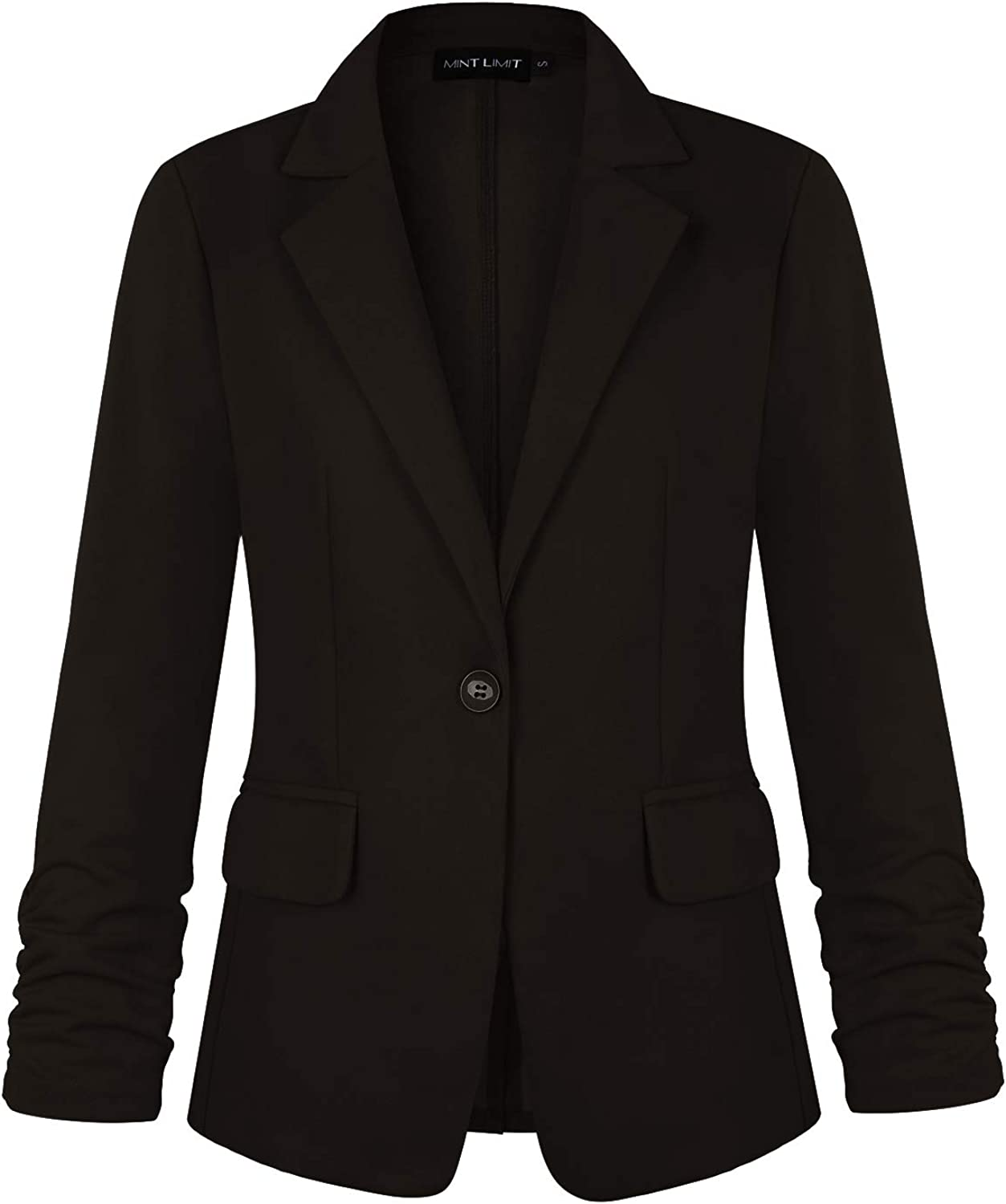 MINTLIMIT Women's 3/4 Ruched Sleeve One Button Stretchy Work Blazer with Pockets