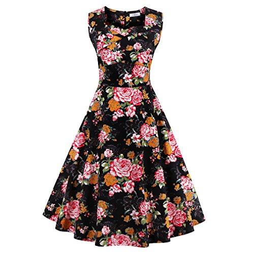 La mujer vestidos de verano vestidos estampados florales Vintage Retro estilo elegante casual Oficina vestidos vestido de fiesta Como se muestra en la figura 72
